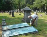 Putting a wreath on the Pierpont Burials